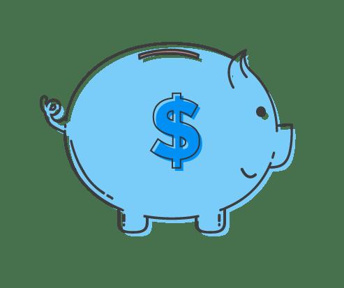 beginner friendly finances piggy bank graphic