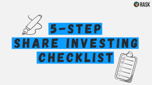 Image with text reading 5-step share investing checklist and graphic of a checklist and a pen